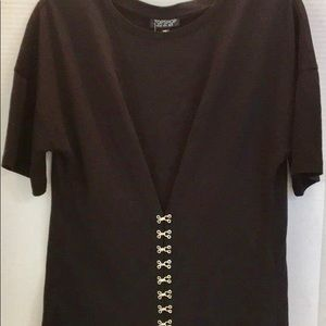 TOPSHOP New w TAG BLACK Cotton SS detailed TOP US8
